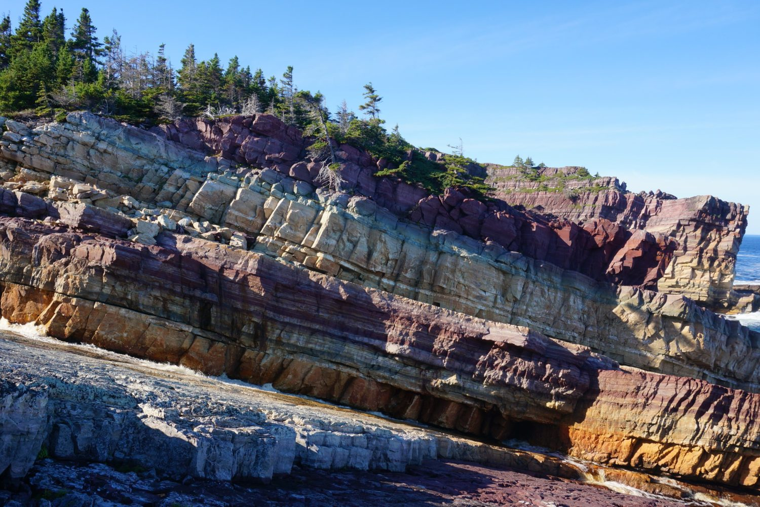 Multi-coloured cliffs of King's Cove