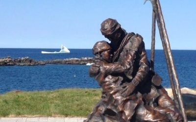 A father and son, frozen in one another's arms during the great sealing disaster