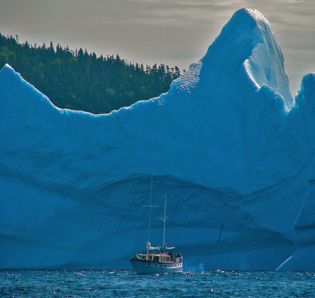 A local boat operator tours around a grounded iceberg