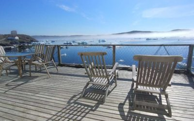 The deck of Admiral's Lookout Vacation Home, overlooking spring ice.