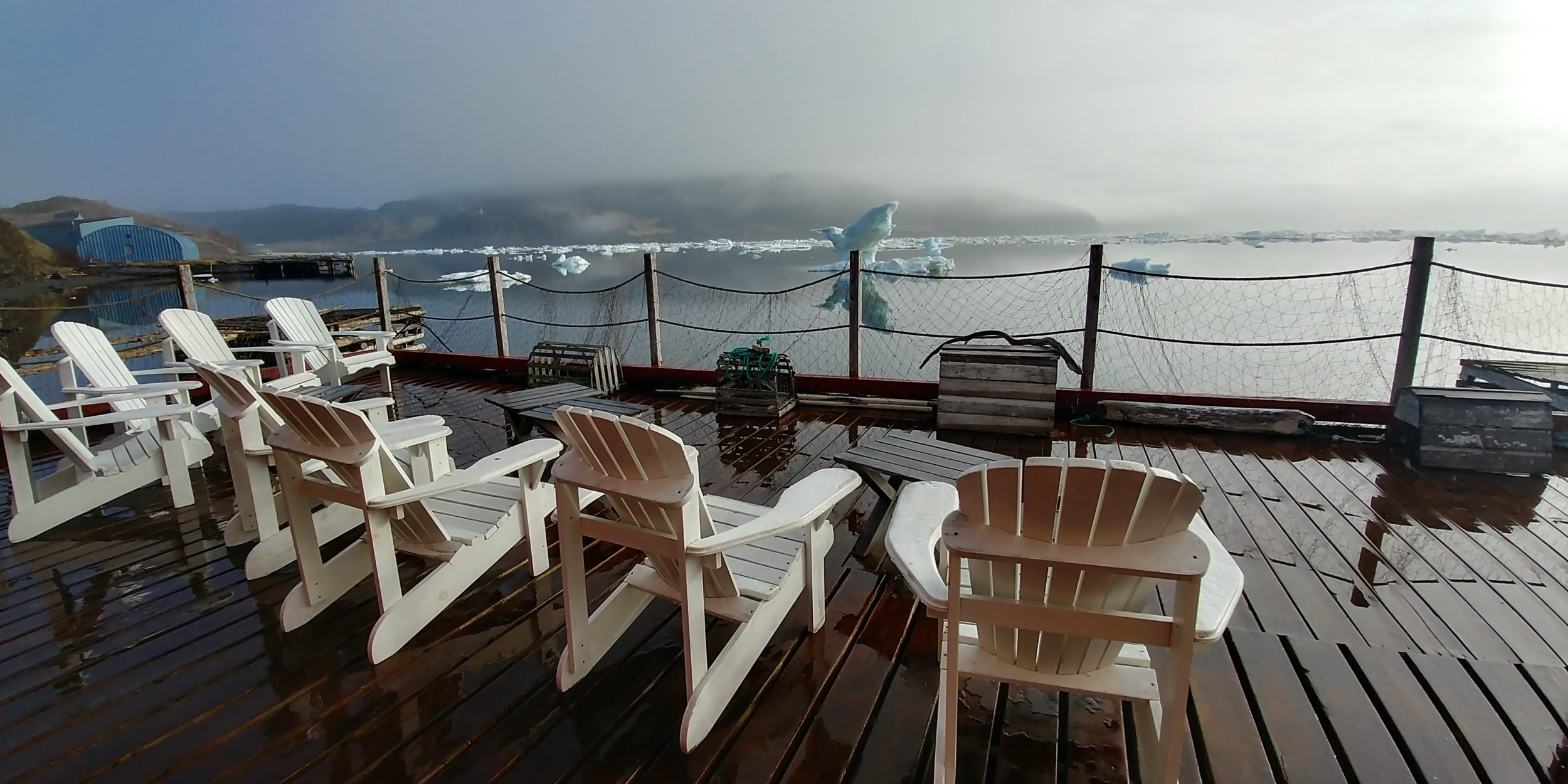 Icebergs in front of a deck