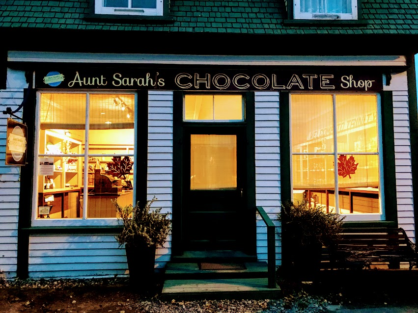 Aunt Sarah's Choloate lit up for Trinity's Fall Festival